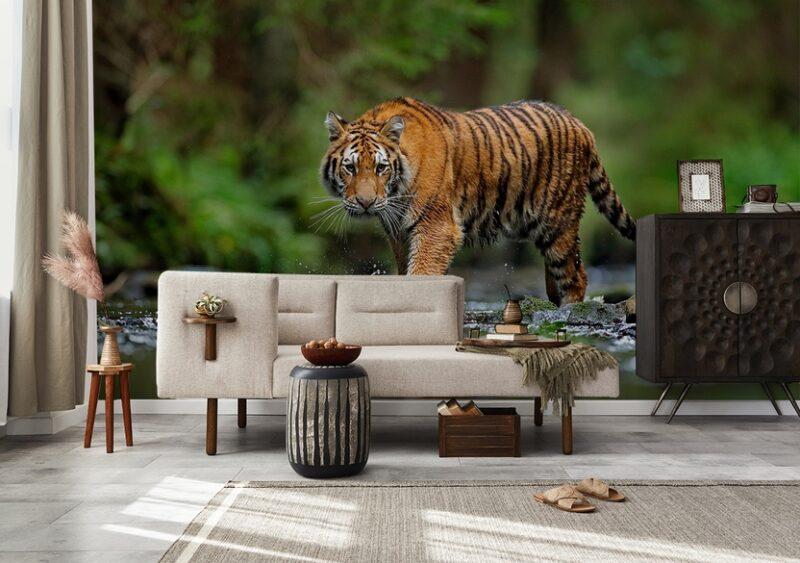 Fototapete Tiger im Wasser im Wohnzimmer