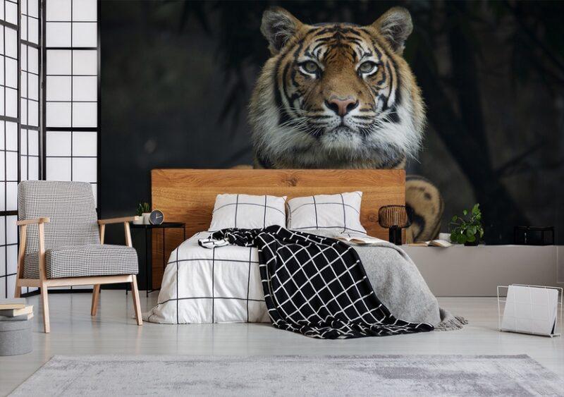 Fototapete Tigerkopf im Schlafzimmer