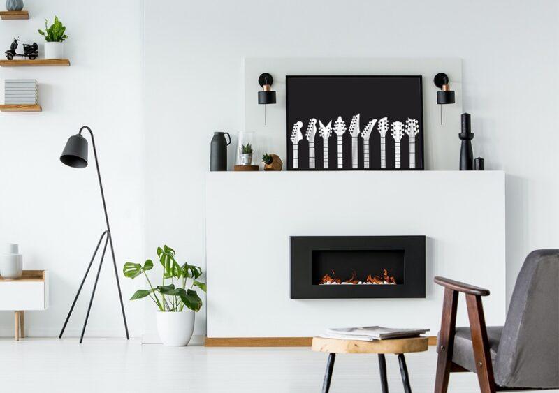Schwarz-weißes Musikposter im Wohnzimmer